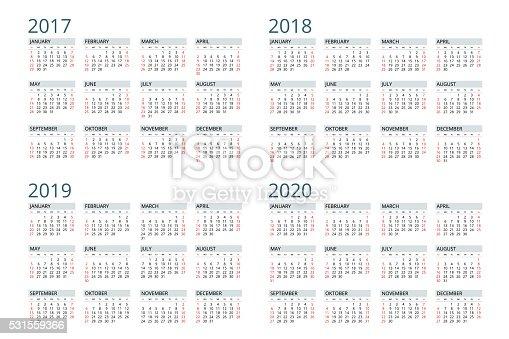 Calendar For 2017 2018 2019 2020 stock vector art ...