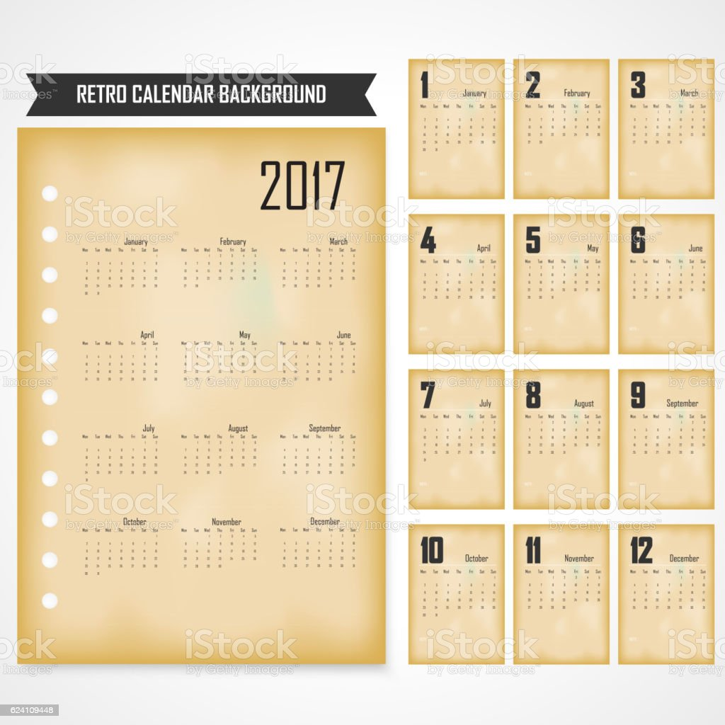 Calendar for 2017 on grey background - Illustration vectorielle