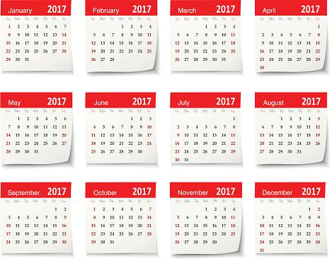 Calendar for 2017 - Vector