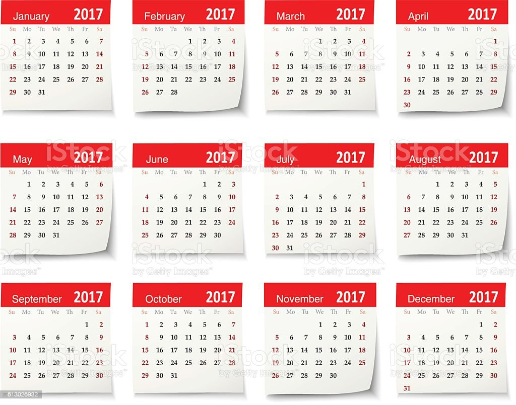 Calendar for 2017 - Vector vector art illustration
