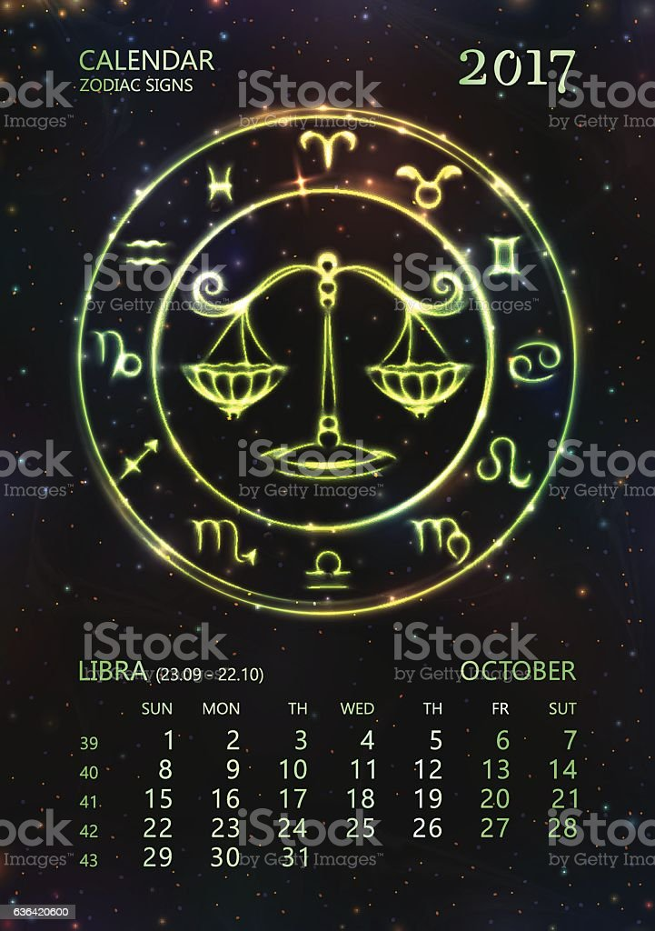 Calendar For 2017 Year Libra In October Stock Illustration - Download Image  Now