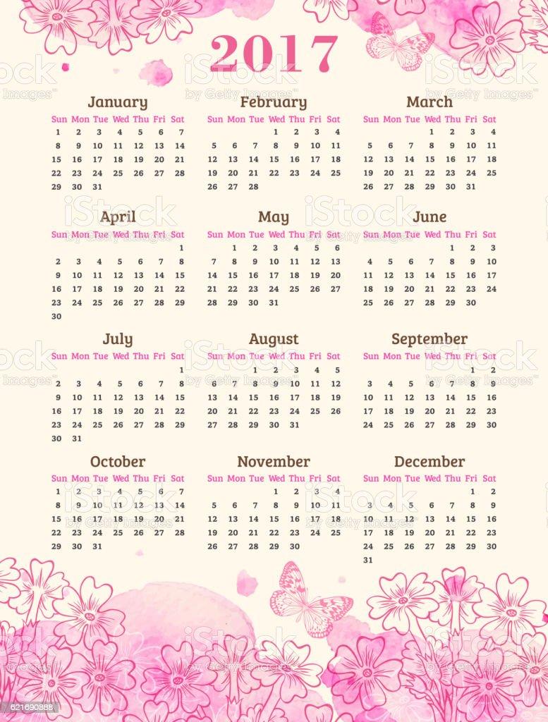 Calendario de 2017 año. - ilustración de arte vectorial