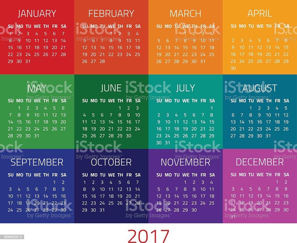 Calendar for 2017 year vector art illustration