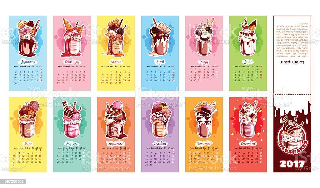 Calendar for 2017 year with milkshakes. Lizenzfreies calendar for 2017 year with milkshakes stock vektor art und mehr bilder von 2017