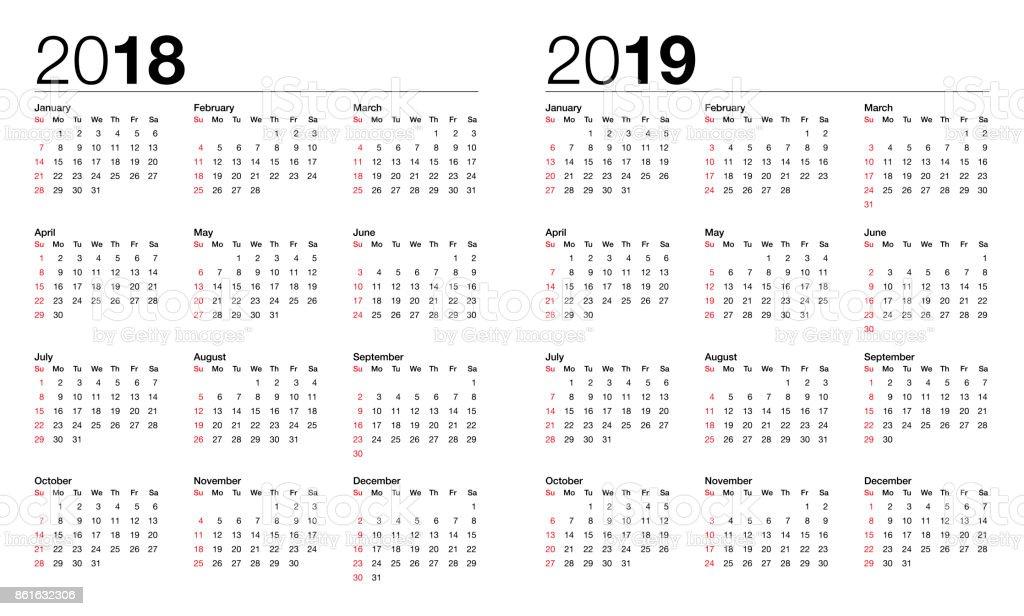kalender f r das jahr 2018 und 2019 stock vektor art und mehr bilder von anfang istock. Black Bedroom Furniture Sets. Home Design Ideas