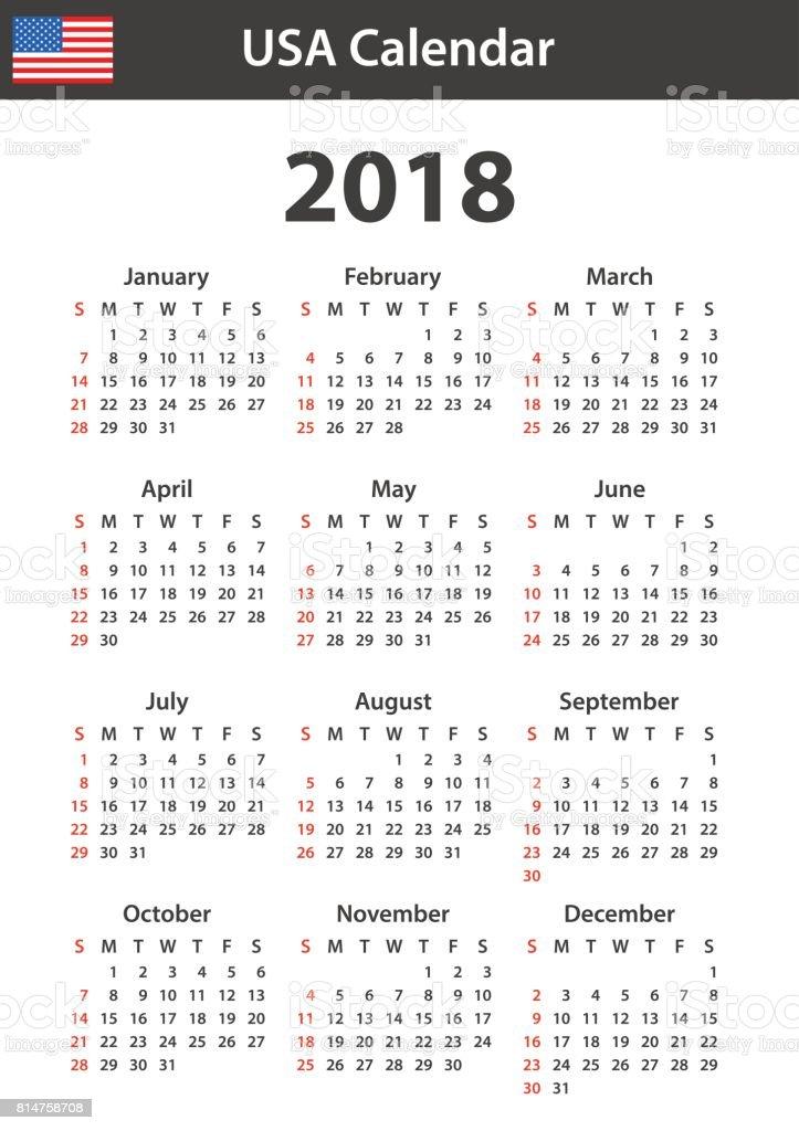 2018 のアメリカのカレンダースケジューラ議題や日記のテンプレートです