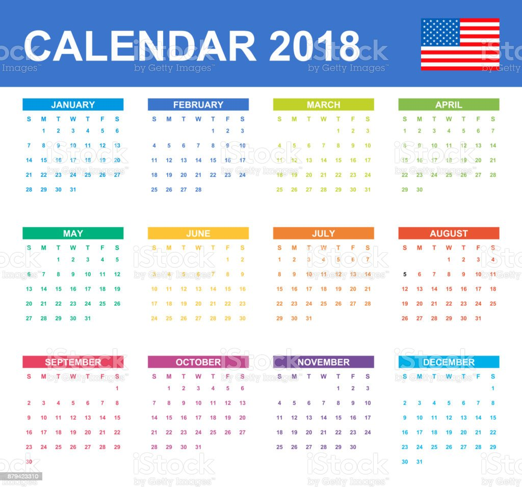 usa calendar for 2018 scheduler agenda or diary template week starts