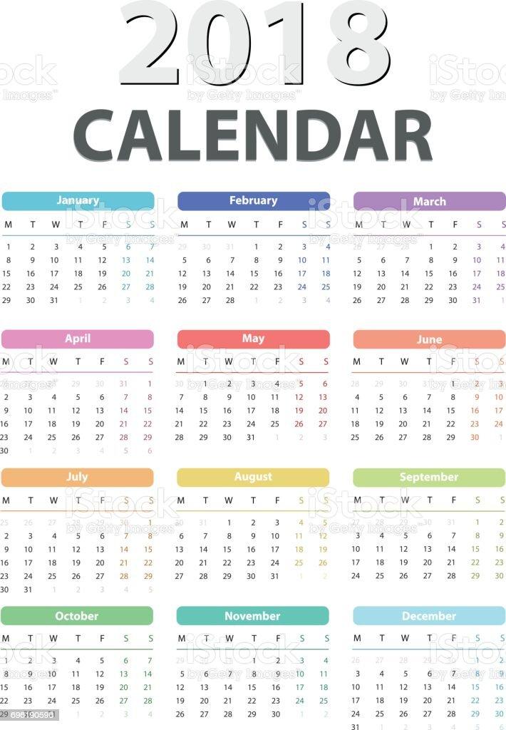 Calendar Design 2018 : Calendar for starts monday vector design