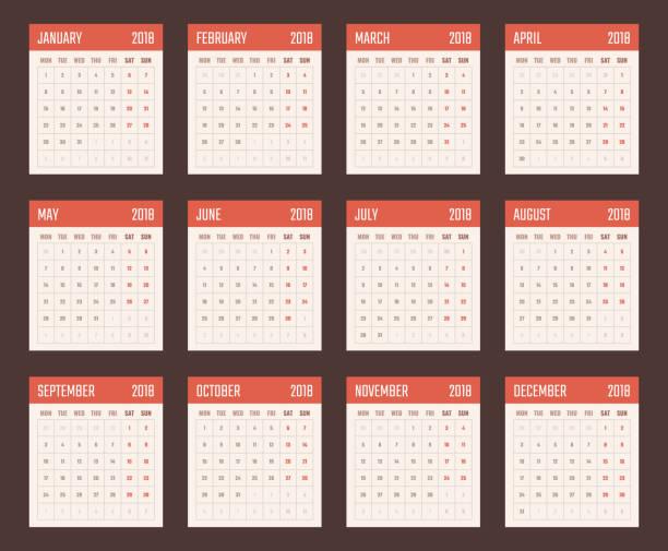 stockillustraties, clipart, cartoons en iconen met kalender voor 2018 begint maandag, vector kalender ontwerp 2018 jaar - 2018