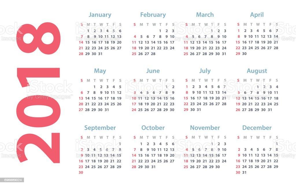 Calendar Design 2018 : のカレンダーの開始日ベクター暦 年 年のベクターアート素材や画像を多数ご用意