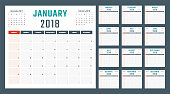 calendar for 2018 starts sunday, vector calendar design 2018 year