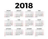 2018 のカレンダー