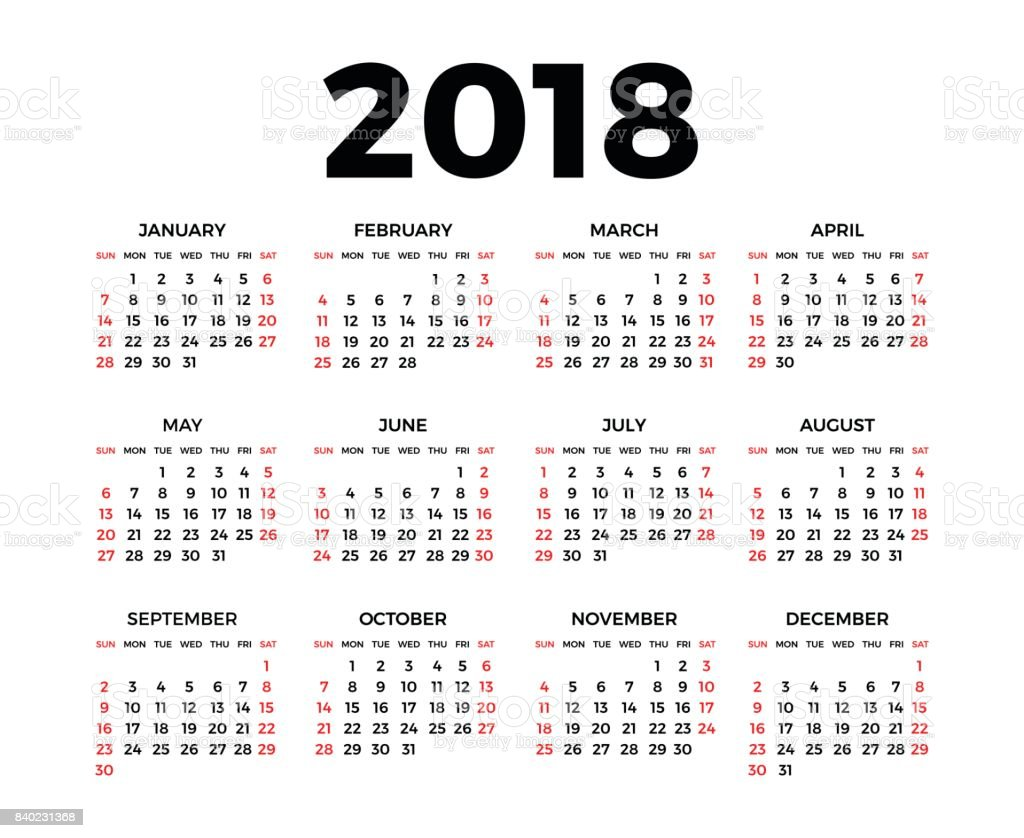 Calendar for 2018 vector art illustration