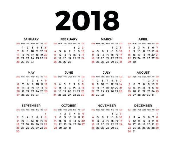 stockillustraties, clipart, cartoons en iconen met kalender voor 2018 - 2018
