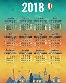 Calendar for 2018 with famous World Landmarks. Week Starts Sunday. Vector illustration