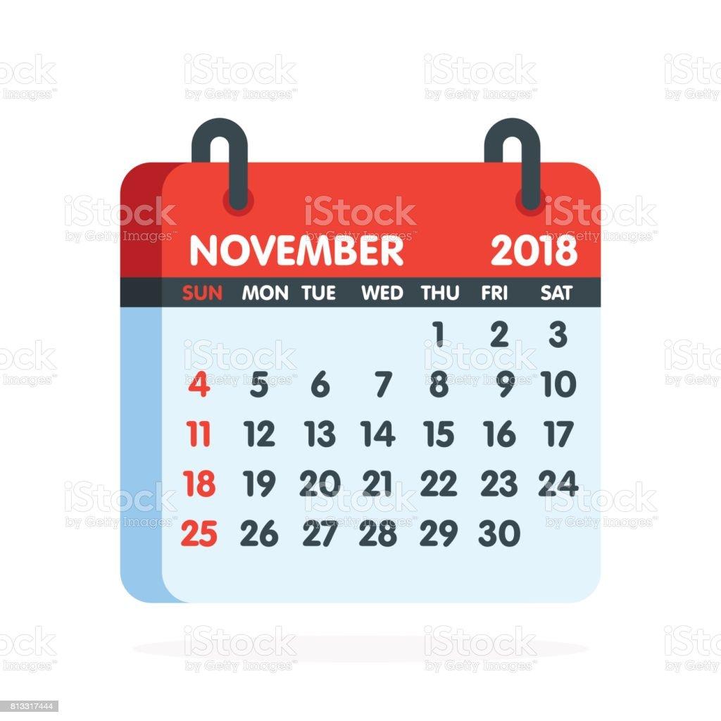 Calendario Completo.Ilustracion De Calendario Para El Ano 2018 Mes Completo Del Icono De Noviembre Ilustracion De Vector Y Mas Vectores Libres De Derechos De 12 23 Meses