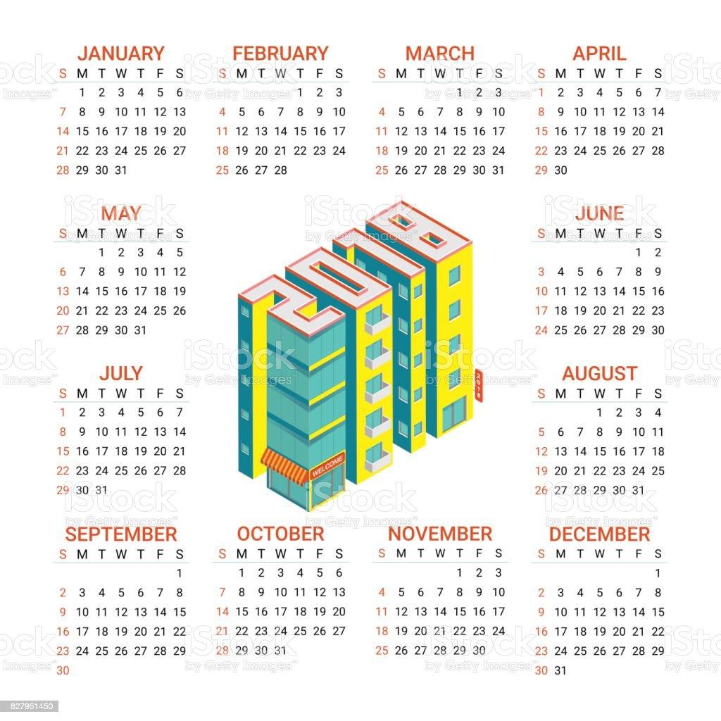 Ilustración de Calendario Para El Año 2018 Con Edificios Isométricas ...