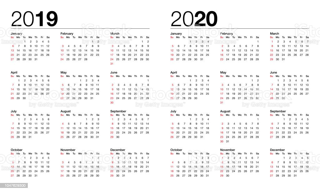 Calendar For 2019 And 2020 Stock Illustration - Download ...