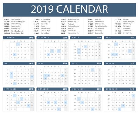 Calendar for 2019 on white background. Flat vector illustrator