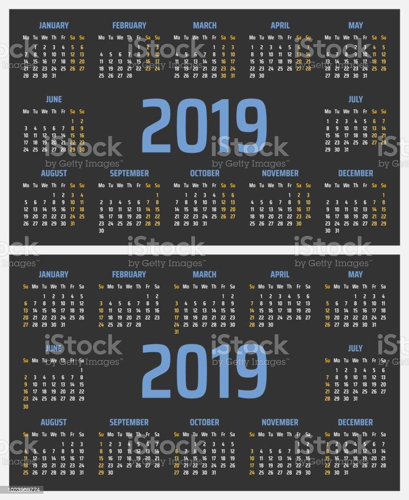 Terminal 5 Calendar.Calendar For 2019 Starts Sunday And Monday Vector Calendar Design