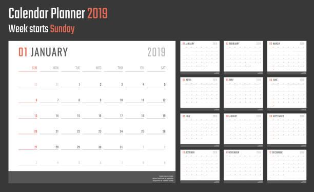 kalender für das jahr 2019 beginnt sonntag, vektor kalenderdesign 2019 jahr - kalendervorlage stock-grafiken, -clipart, -cartoons und -symbole