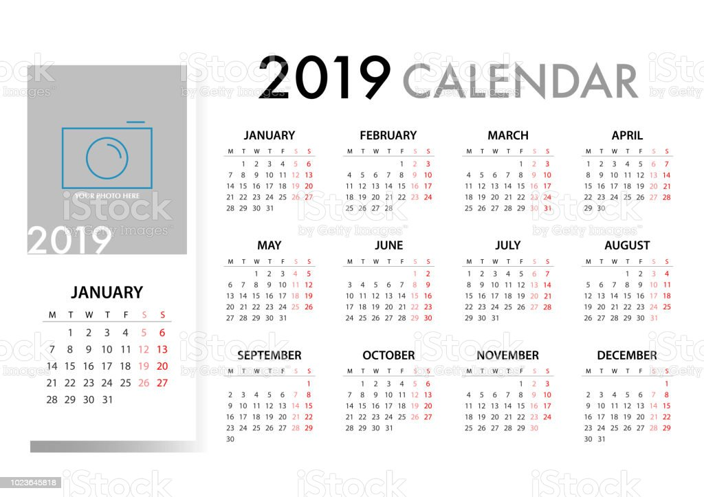2019 月曜始まりのカレンダーです単純なベクトル テンプレート
