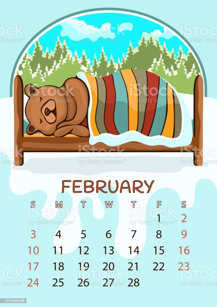 Calendar for 2019 with cartoon funny animals, hand drawing, vector illustration. Colorful, bright design of a wall-mounted rocker calendar with painted cute animals on the background seasonal nature vector art illustration