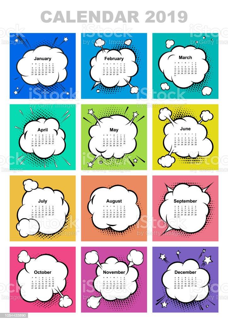 Calendar Maker Art Explosion : Calendar for year boom comic book explosion speech