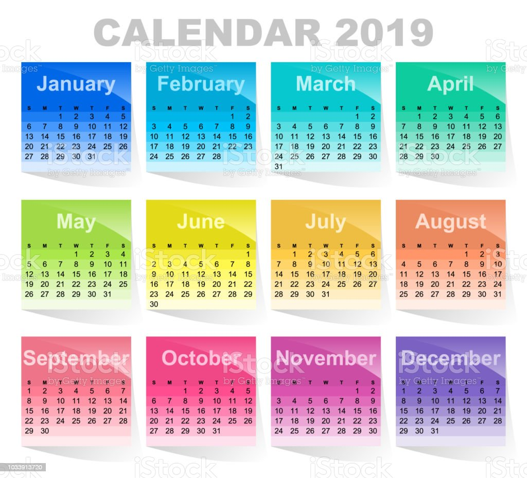 Calendar For 2019 Year Colorful Sticky Notes Colored Sheets Of Paper ...