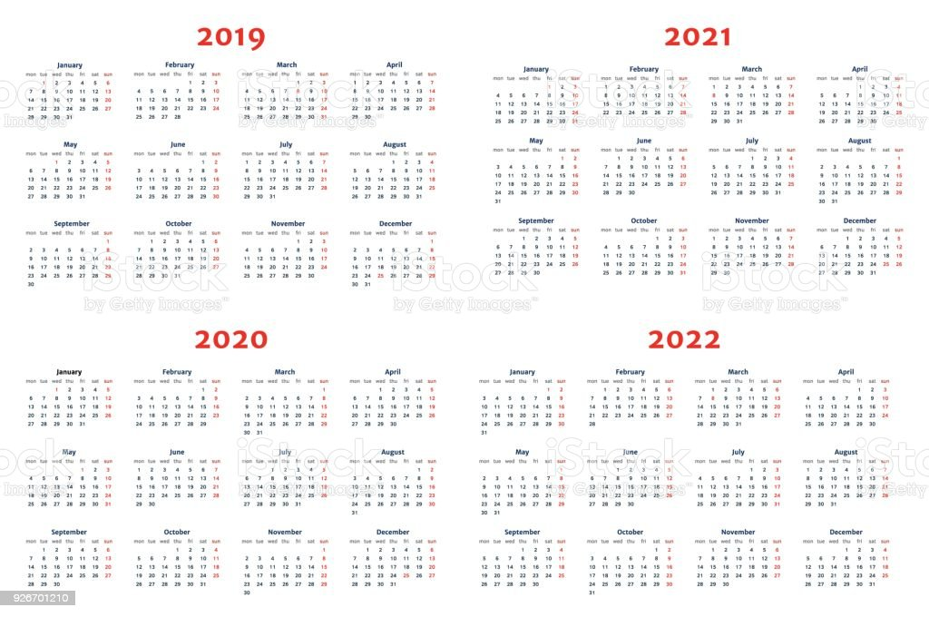 calendar for 20192022 years on transparent background stock vector