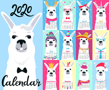 Calendar for 2020 from Sunday to Saturday. Cute llama in different costumes. Superhero, sailor in a vest, unicorn, Santa Claus. Funny animal. Alpaca cartoon character.