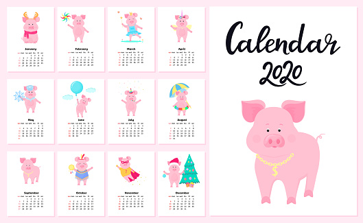 Calendar for 2020 from Sunday to Saturday. Cute pigs in different costumes. Superhero, Princess, Santa Claus. Funny animal. Piggy cartoon character