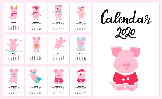Calendar for 2020 from Sunday to Saturday. Cute pigs in different costumes. Superhero, sailor in a vest, unicorn, Santa Claus. Funny animal. Piggy cartoon character.