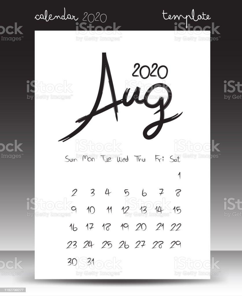 Agosto 2020 Calendario.Ilustracion De Calendario Para 2020 Calendario De Letras