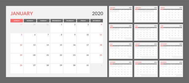 Calendar for 2020 new year in clean minimal table simple style. calendar, 2020, vector, pattern, module, geometric, month, layout, template, print, date, illustration, year, design, diary, graphic, organizer, simple, week, monthly, planner, schedule, season, calender, modern, new year, annual, background, basic, daily, english, business, clean, event, number, sunday, block, unit, horizontal, grid, sans serif, A4, grotesque, remind, classic, notice calendar stock illustrations