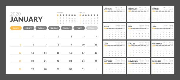 Calendar for 2020 new year in clean minimal table simple style. Calendar for 2020 year in clean minimal table simple style. Week Starts on Sunday. Set of 12 Months. calendars templates stock illustrations