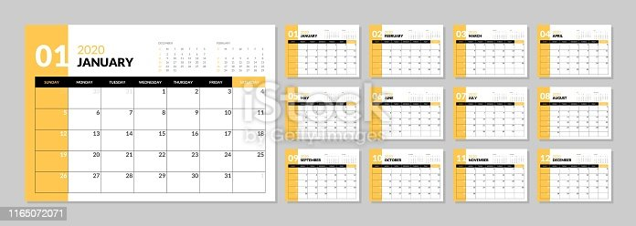 istock Calendar for 2020 new year in clean minimal table simple style. 1165072071