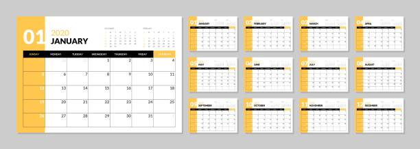 Calendar for 2020 new year in clean minimal table simple style. Wall calendar for 2020 year in clean minimal style. Week Starts on Sunday. Set of 12 Months. calendar stock illustrations