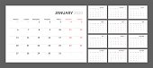 Wall calendar for 2020 year in clean minimal style. Week Starts on Monday. Set of 12 Months.