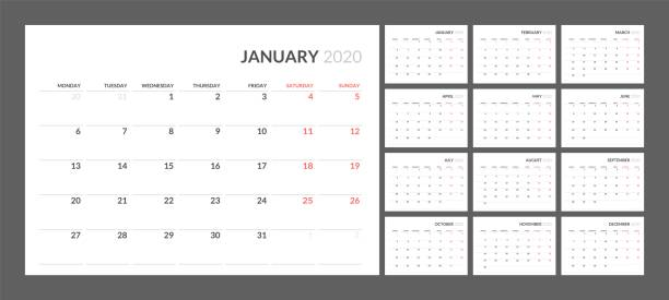 Calendar for 2020 new year in clean minimal table simple style. Wall calendar for 2020 year in clean minimal style. Week Starts on Monday. Set of 12 Months. calendars templates stock illustrations