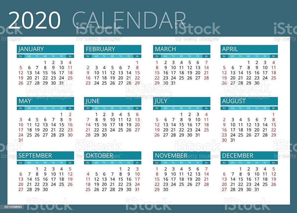 Ano 2020 Calendario.Calendar For 2020 Stock Vector Art More Images Of 2020