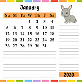 Calendar for 2020 with a cute character. Fun and bright design. Isolated vector illustration. Cartoon style.