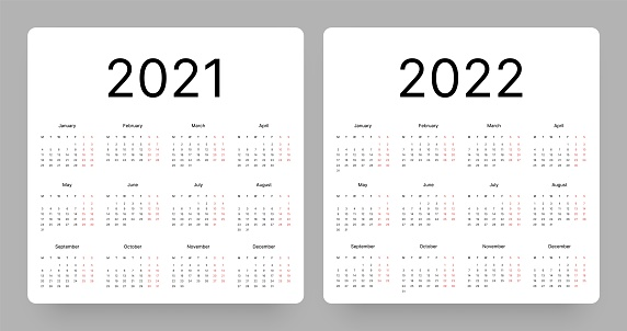 Calendar for 2021 and 2022 year. Week Starts on Monday.