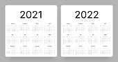 Calendar for 2021 and 2022 year in clean minimal style. Week Starts on Monday.