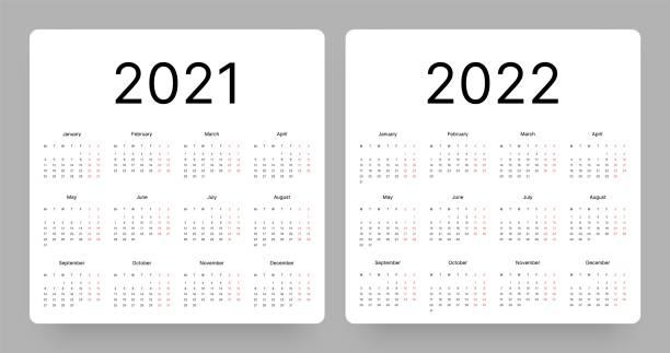 illustrations, cliparts, dessins animés et icônes de calendrier pour les années 2021 et 2022. la semaine commence le lundi. - calendrier