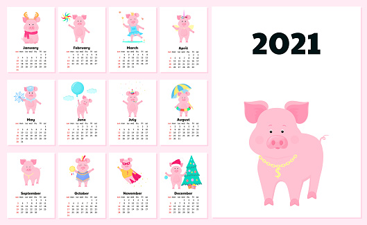 Calendar for 2021 from Sunday to Saturday. Cute pigs in different costumes. Superhero, Princess, Santa Claus. Funny animal. Piggy cartoon character
