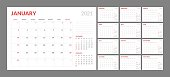 istock Calendar for 2021 new year in clean minimal table simple style. 1200524001