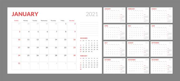 Calendar for 2021 new year in clean minimal table simple style. Wall calendar for 2021 year in clean minimal style. Corporate design planner template. Week Starts on Sunday. Set of 12 Months. Ready for print. calendars templates stock illustrations