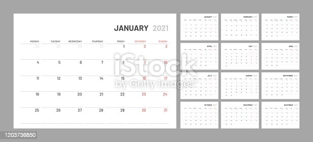 istock Calendar for 2021 new year in clean minimal table simple style. 1203736850