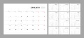 Wall calendar for 2021 year in clean minimal style. Corporate design planner template. Week Starts on Monday. Set of 12 Months. Ready for print.
